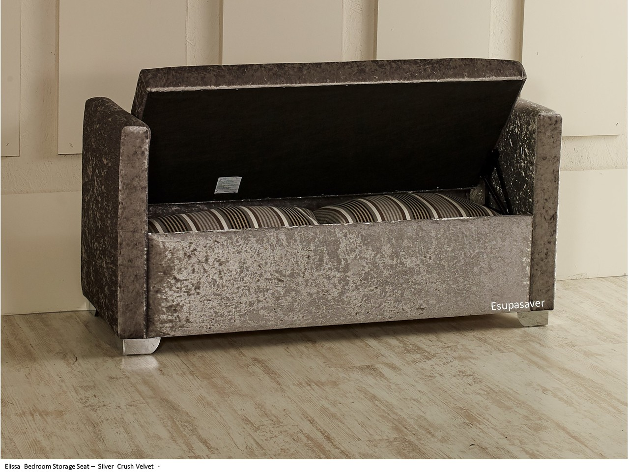 Elissa Ottoman Storage Box Seat. Photo displaying silver crush velvet fabric Available in a vast & Elissa Ottoman Storage Box Seat Available in Crush Velvet Chenille ...