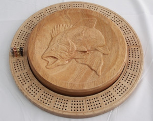 4 Player Cribbage Board Leaping Bass Mahogany and Curly Maple