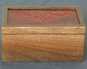 Invisible Hinge Box Walnut Leather Flaming Heart