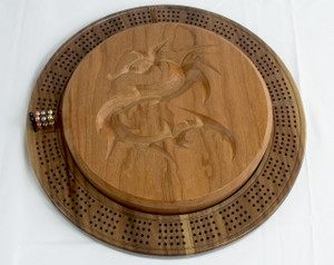 Four Player Cribbage Board Dragon Cherry and Walnut