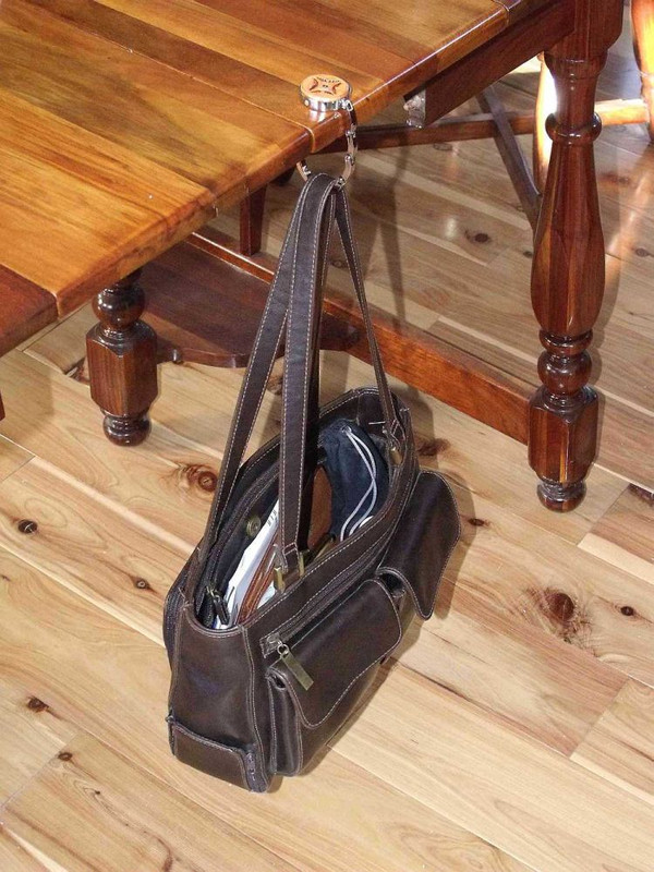 Collapsable American flag purse hook handtooled leather