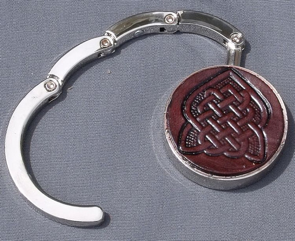 Collapsible Purse Hook Celtic Knot 12 Dark Leather