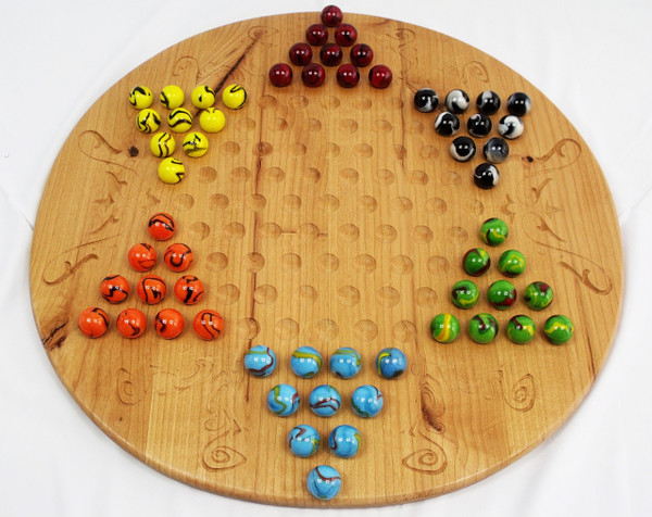 Deluxe Chinese Checkers and Aggravation / Wahoo Game Boulder sized marbles in Alder