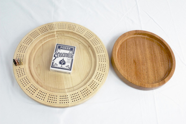 4 Player Cribbage Board Odin's Horn Mahogany and Curly Maple