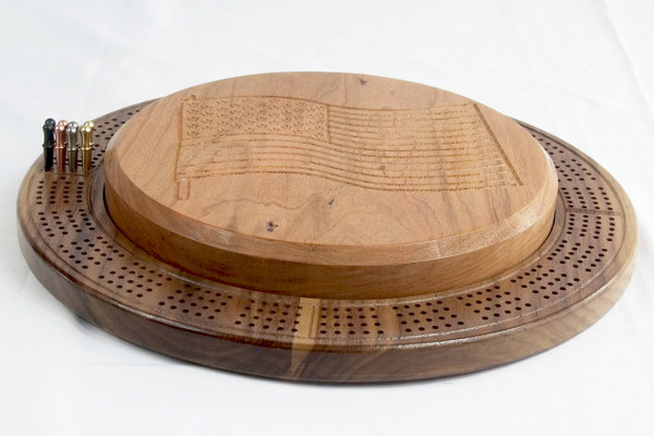 4 Player Cribbage Board Flag Cherry and Walnut