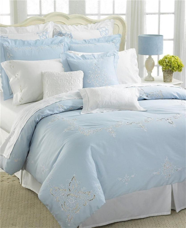 Nice Of Versailles Dejeuner Light Blue Embroidered Queen Duvet Cover New