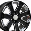 "20"" Fits Chevrolet - Silverado Wheel - Satin Black with Chrome Inserts 20x8.5"