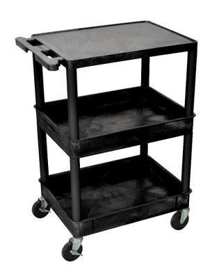3 Shelf Cart W/Top Shelf Flat/Remaining Shelves Tub Item STC211-B