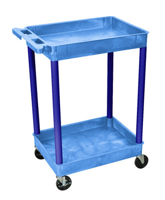 Blue 2 Shelf Tub Rolling Cart