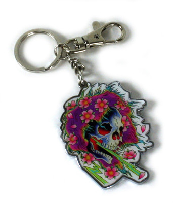 Ed Hardy Neon Ghost Chrome Keychain
