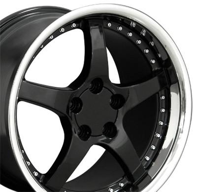 "18"" Fits Camaro Corvette C5 Deep Dish Wheel Black / Rivets 18x10.5"