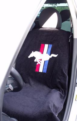 Mustang Black Car Seat Cover Towel