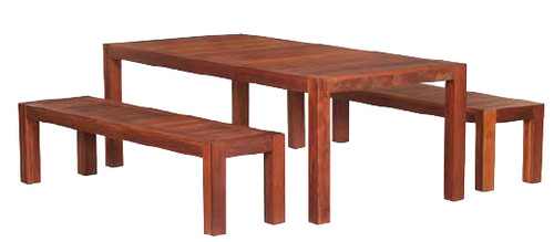 Lyon 2m Kwila Table and Bench Setting