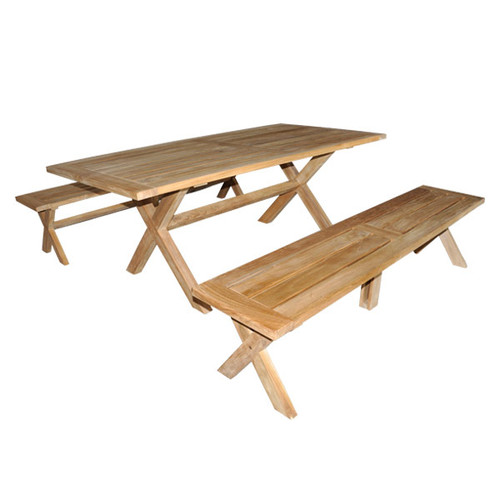 Alex 2m Natural Teak Table and Bench Setting