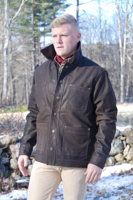 Crofters Waxed Buffalo Jacket - Antique Brown