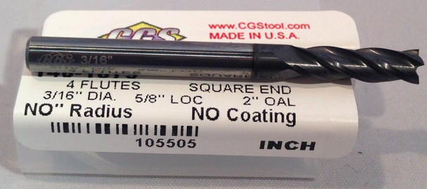 "4FL 30 DEG SQ CARBIDE END MILL 3/16""DIA 5/8""LOC 2""OAL w/ALTiN Coating"