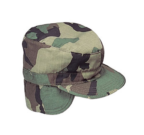 GI Combat Cap w/flaps  WDL Camo Winter 7 1/2