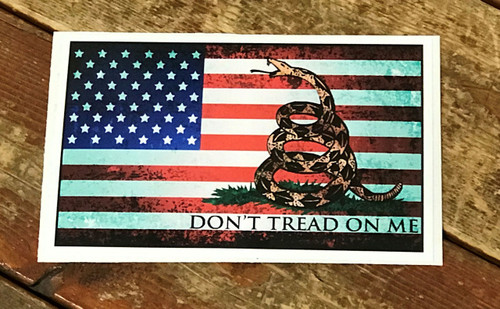 Don't Tread on Me Sicker with Flag Background