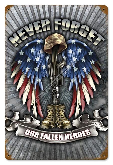 Fallen Heroes Metal Sign