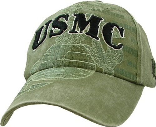 USMC OD WASHED GLOBE AND ANCHOR CAP