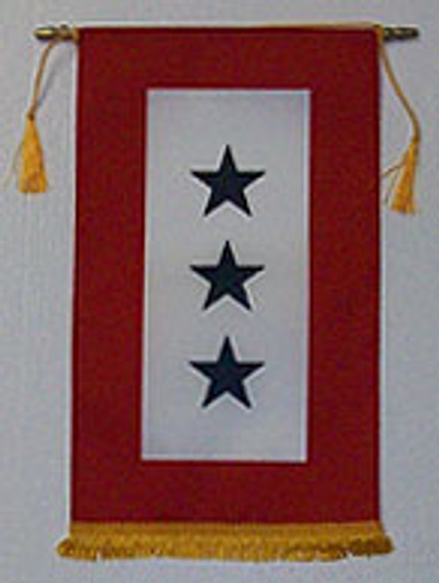 Service Flag, (Blue Star Banner) 3 Star with Gold Fringe