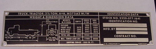 6x6 M275A2 Data Plate