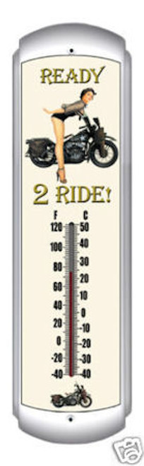 Ready 2 Ride Motorcycle Pinup Girl Thermometer