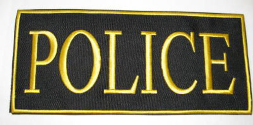 Police 2-Piece Law Enforcement Patch Small Gold Letters