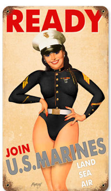 USMC Girl Vintage Metal Sign