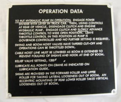 Operation Data Plate