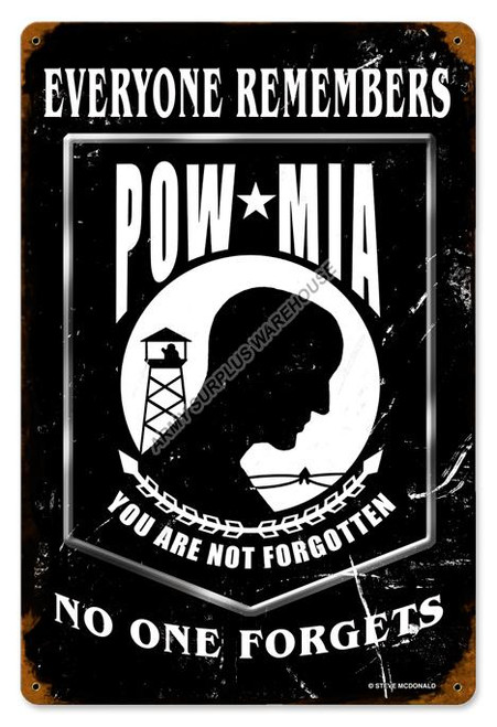 POW Black Vintage Sign