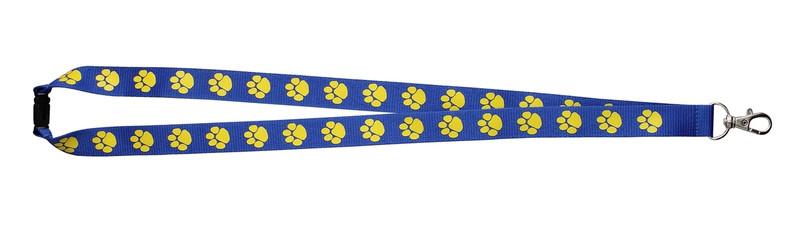Paw Print Lanyard Blue w/Yellow Paw