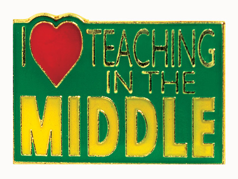 I (heart) Teaching in the Middle Lapel Pin
