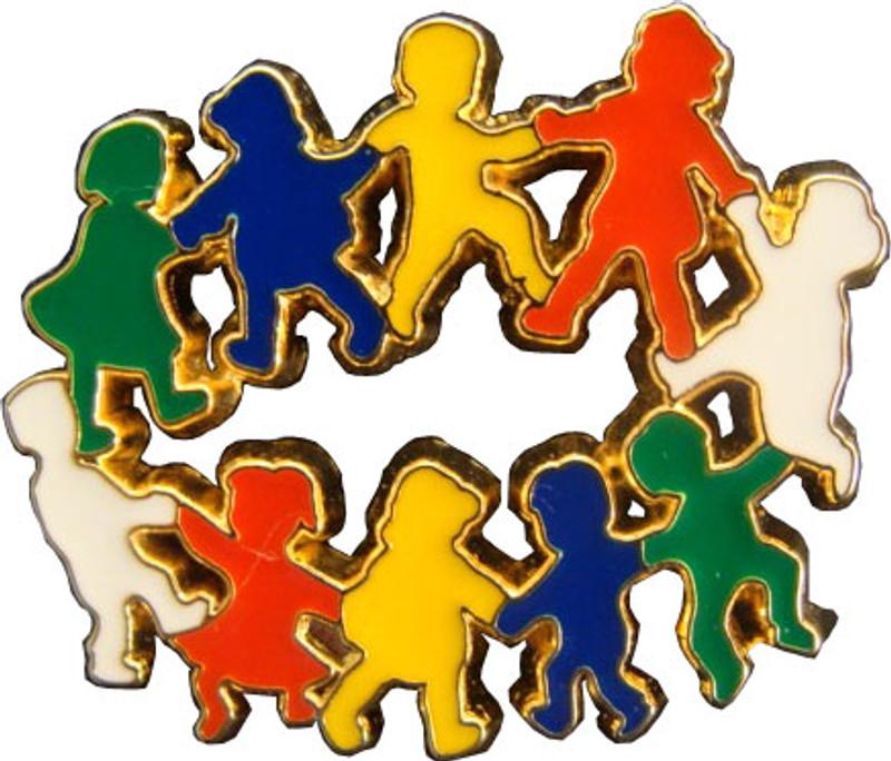 Children in Circle (multi-color) Lapel Pin