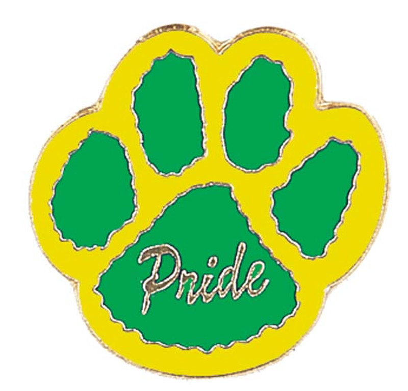 Paw Print - Pride (green/yellow) Lapel Pin