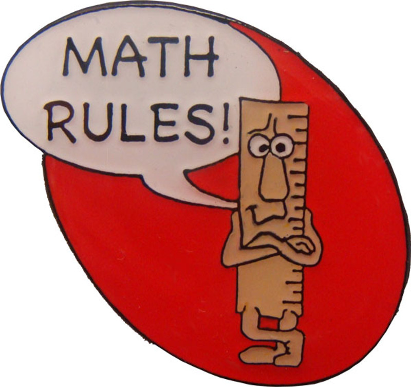 Math Rules! Lapel Pin (red)
