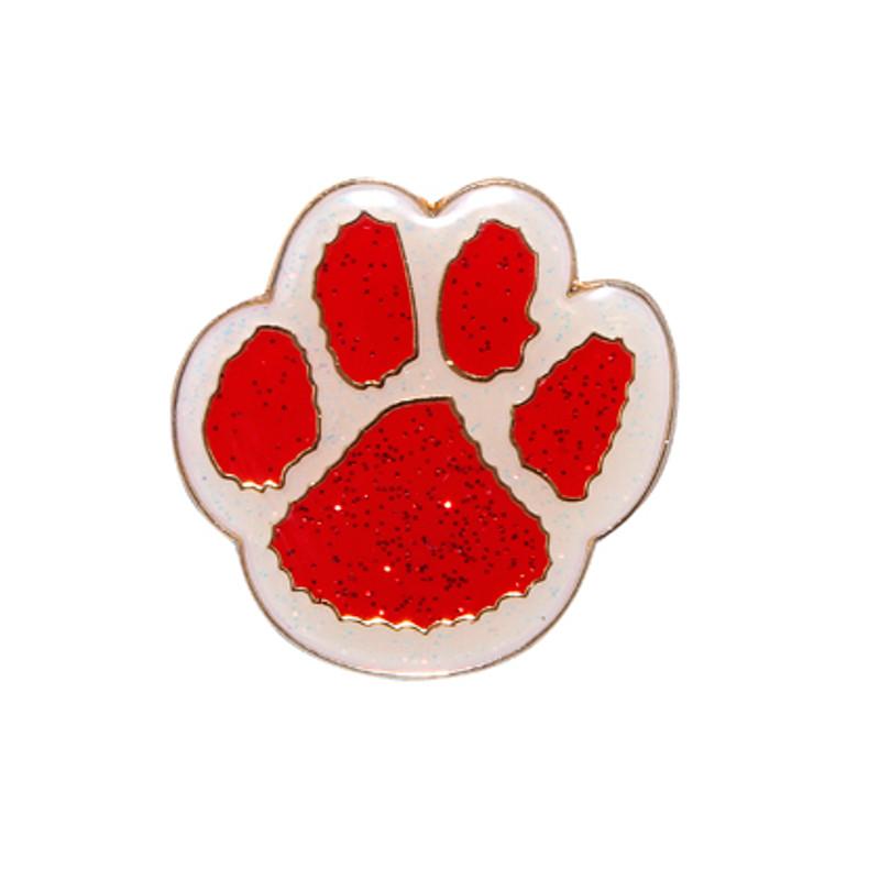 Paw Print - Glitter (red/white) Lapel Pin