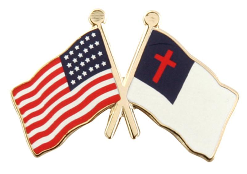 Flag Combo USA Christian Lapel Pin
