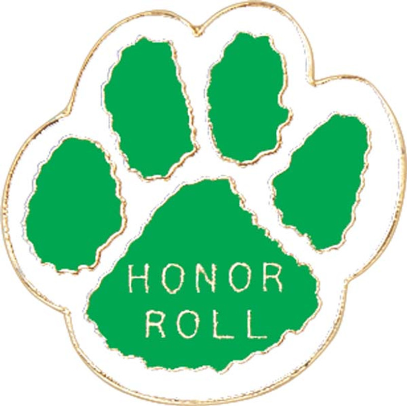 Paw Print - Honor Roll (green/white) Lapel Pin