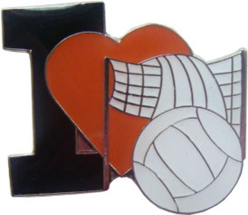 I (heart) Volleyball Lapel Pin