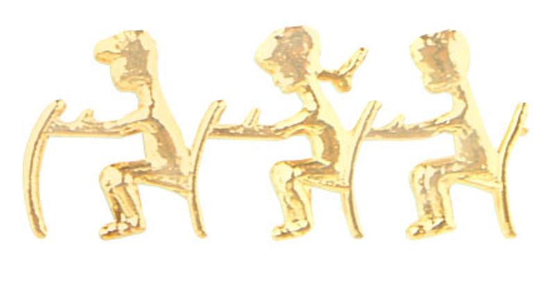 Golden Apple 3 Children at Desks Lapel Pin