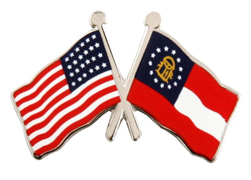 Flag Combo USA-Georgia (Nickel) Lapel Pin