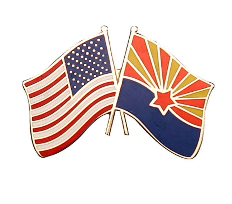 Arizona and United States Flags Lapel Pin