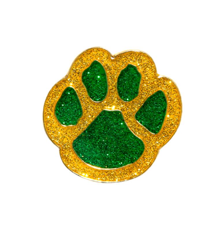 Paw Print - Glitter  (yellow/green) Lapel Pin