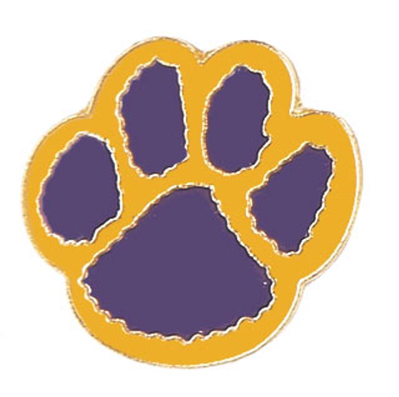 Paw Print (purple/yellow) Lapel Pin
