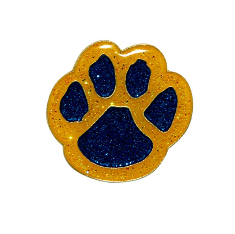 Paw Print - Glitter (blue/yellow) Lapel Pin