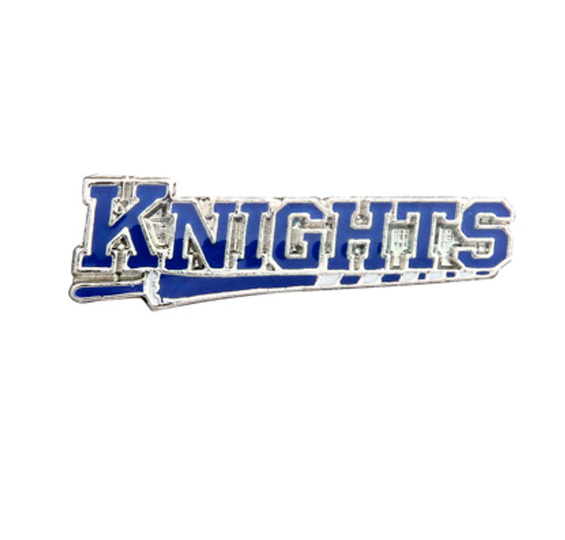 KNIGHTS on a lance, blue (nickel) Lapel Pin
