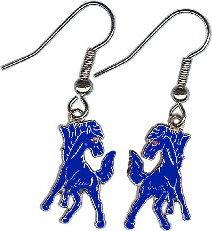 Mustang Earrings, Blue/Nickel Plate