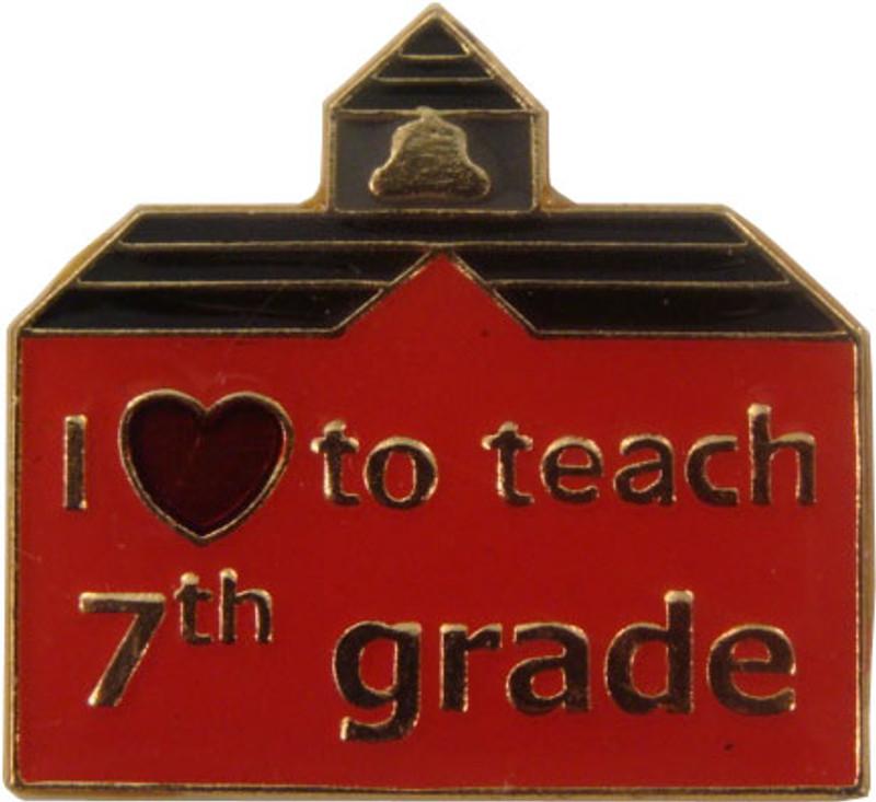 I (heart) to teach 7th grade Lapel Pin
