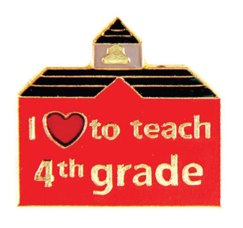 I (heart) to teach 4th grade Lapel Pin